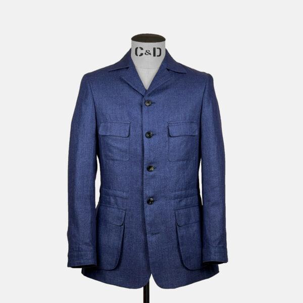 Linen Safari Jacket in Denim Blue