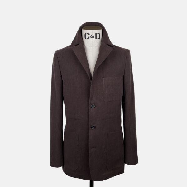 Worker Jacket in Brown Linen Front